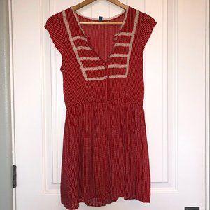 FREE PEOPLE Red &White Polka Dot Prairie Dress sz0